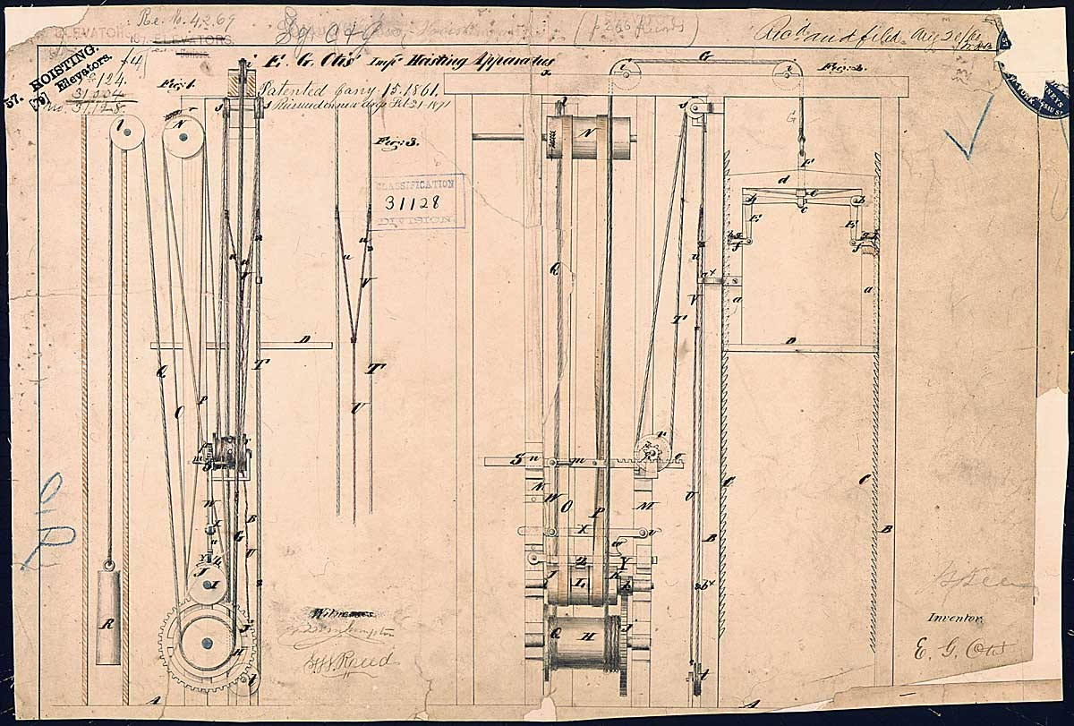 Otis' Improved Hoisting Apparatus Patented January 15, 1861, Elisha Otis's elevator was the first with a safety catch to guard against the breaking of the cable. The Otis Company would become the premier manufacturer of electric elevators.