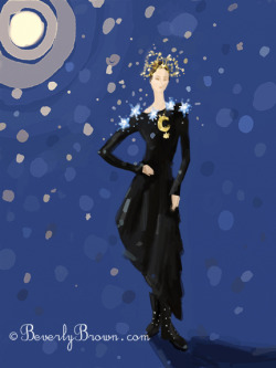A dreamy iPad fashion painting of a woman illuminated by a full moon and stars.