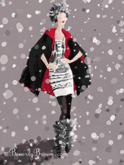 Red and black winter fashion in the snow - painted on my iPad.