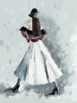 An iPad fashion painting with a vintage feel of a woman in the snow wearing a white skirt and black sequined cloche hat.