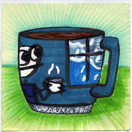 "bortwein:  I drew you another Sam Brown influenced Mug of coffee Inspired by warm coffee before I go outside by Sam Brown the creator of explodingdog.com I hope you like it. This is part of my ""The Daily Coffee"" marker drawing series."