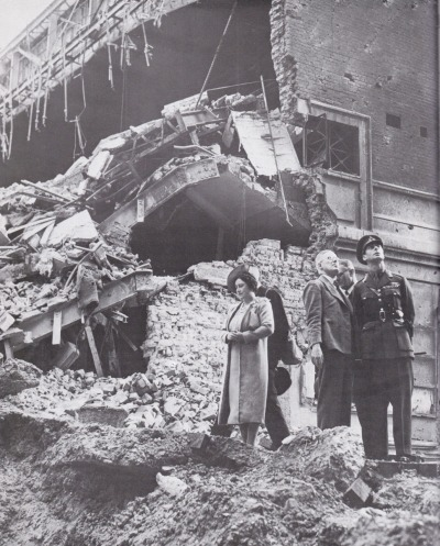 vintage-royalty:  Bertie and Elizabeth inspecting rubble from bombings during World War II. My grandmum came home from school one day to find her house looking like that. It was a really scary time.