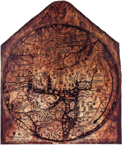 mediumaevum:  The Hereford Mappa Mundi is the largest intact Medieval wall map in the world and its ambition is breathtaking – to picture all of human knowledge in a single image. The work of a team of artists, the world it portrays is overflowing with life, featuring Classical and Biblical history, contemporary buildings and events, animals and plants from across the globe, and the infamous 'monstrous races' which were believed to inhabit the remotest corners of the Earth.  0 - At the center of the map: Jerusalem, above it: the crucifix. 1 - The Paradise, surrounded by a wall and a ring of fire. 2 - The Ganges and its delta. 3 - The fabulous Island of Taphana, sometimes (possibly mis-)interpreted as Sri Lanka or Sumatra. 4 - Rivers Indus and Tigris. 5 - The Caspian Sea, and the land of Gog and Magog 6 - Babylon and the Euphrat. 7 - The Persian Gulf. 8 - The Red Sea (painted in Red). 9 - Noah's Ark. 10 - The Dead Sea, Sodom and Gomorrha, with River Jordan, coming from Sea of Galiliee; above: Lot's wife. 11 - Egypt with the River Nile. 12 - River Nile [?], or possibly an allusion to the equatorial Ocean; far outside: a land of freaks, possibly the Antipodes. 13 - The Azov Sea with Rivers Don and Dnjepr; above: the Golden Fleece. 14 - Constantinoples; left of it the Danube's delta. 15 - The Aegean Sea. 16 - Oversized delta of the Nile with Alexandria's Lighthouse. 17 - A person skiing. 18 - Greece with Mt. Olymp, Athens and Corinth 19 - Misplaced Crete with Minotaur's circular labyrinth. 20 - The Adriatic Sea; Italy with Rome, honored by a popular heptameter: Roma caput mundi tenet orbis frena rotundi [Rome, the head, holds the reins of the world]. 21 - Sicily, and Carthage, opposing Rome, right of it. 22 - Scotland. 23 - England. 24 - Ireland. 25 - The Baleares. 26 - The Strait of Gibraltar (the Pillars of Hercules).