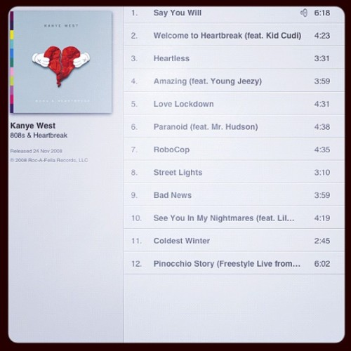 #NowPlaying 808's & Heartbreak (Taken with instagram)