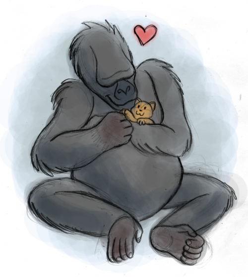 for Jungle January, I wanted to draw Koko and a kitten, because who doesn't love these gentle giants? :)