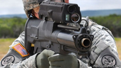 via Military technology: Magic bullets | The EconomistThe XM25, as the new gun is known, weighs about 6kg (13lb) and fires a 25mm round. The trick is that instead of having to be aimed directly at the target, this round need only be aimed at a place in proximity to it. Once there, it explodes—just like Shrapnel's original artillery shells—and the fragments kill the enemy. It knows when to explode because of a timed fuse. In Shrapnel's shells this fuse was made of gunpowder. In the XM25 it is a small computer inside the bullet that monitors details of the projectile's flight.  With a computer in each rifle, and even one in each bullet a whole spectrum of technical possibilities emerge. Now we are definitely not talking about dumdums anymore… Rather the opposite.