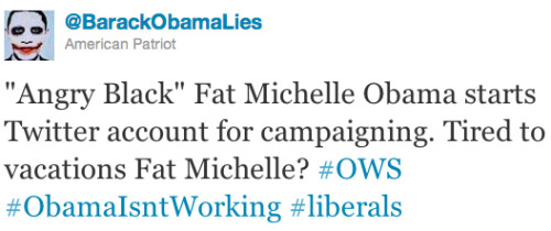 So, Michelle Obama joined Twitter today. And out came the trolls. Don't click if you value humanity, because you may not when you're done reading. And props to BuzzFeed for leaving on the names in case anyone wants to call out these idiots who think the First Lady is fat.