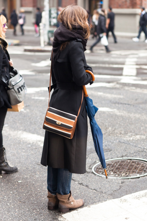 Soho Snap - I was really drawn to her bag. Her umbrella is nice too. The weather has been weird in this city.