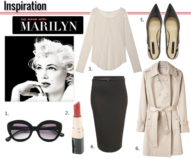stylemint:  1. Elizabeth and James Sunglasses2. Bobby Brown Lipstick3. StyleMint Mercer Henley T4. Topshop Pencil Skirt5. Bandolino Shoes6. Charles Anatase Trench