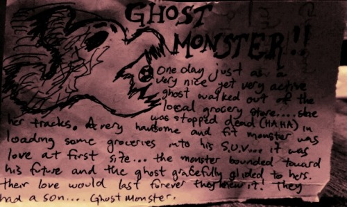 From the bizarre mind of my Brother: Ghost monster—- The result of the love between a beautiful lady and a buff svelt ghost…