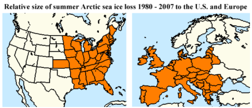 "Jeff Masters: ""The extent of Arctic sea ice loss in the summer July - August - September period in 2007 was about 1.4 million square miles greater than in 1980… equal to an area about 44% of the size of the contiguous U.S., or 71% of the non-Russian portion of Europe."" (via Skeptical Science)"