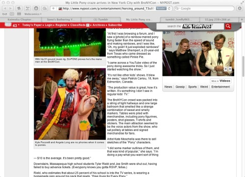 "Me and my good buddy The Doctor made it into the NY Post in an article about BroNYCon! The photographer said we were the ""cutest con couple"", even though we're not a couple at all!"