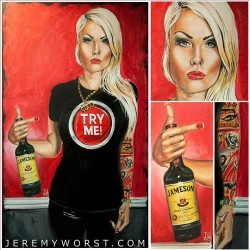 """Try Me"".  Traci!!!   #Painting by @Jeremyworst. With #Acrylics. Done 1-12-12 .   #jamesom #whiskey #instagram (Taken with instagram)"