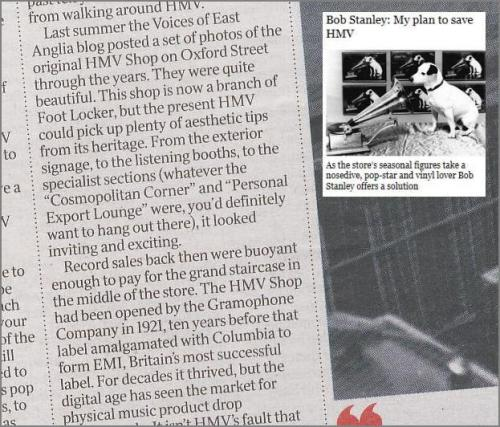HMV Article by Bob Stanley - The Times 10th January 2012