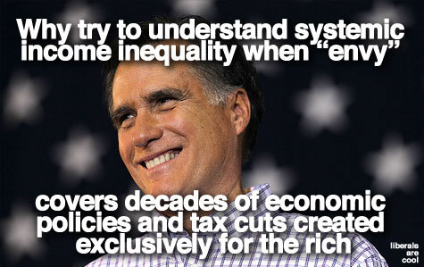 liberalsarecool:  Mitt's tin ear is matched by his black heart.