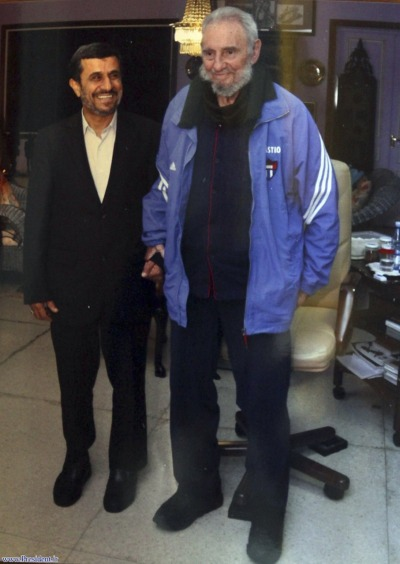 reuters:  Iran's President Mahmoud Ahmadinejad (L) stands with former Cuban leader Fidel Castro in Cuba January 12, 2012. Ahmadinejad said on Thursday both Cuba-Iranian relations and Castro were in good shape after he met with the former Cuban leader and his younger brother President Raul Castro during a one-day visit to the communist island. REUTERS/President.ir/Handout