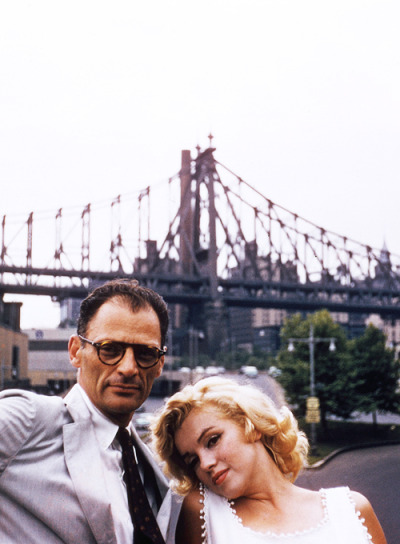 Marilyn Monroe and Arthur Miller in New York City photographed by Sam Shaw, 1957.