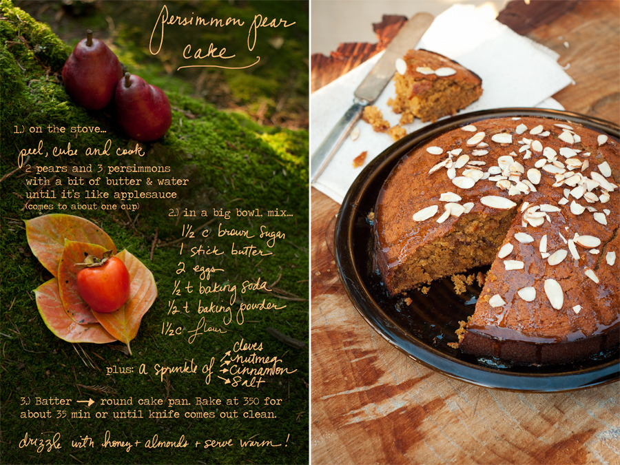 This Persimmon Pear Cake is a nice twist on the traditional pumpkin bread. It's denser than cake, which is why you don't need icing. Peel, cube and cook persimmons and pears in a small pot on the stove (add a bit of butter and water to get it simmering).  Mash it up until you get about 1 cup of puree (depending on the size of the fruits, you may need another persimmon or pear). Combine this fruit mixture with all the other ingredients and bake in a round spring form pan. A light drizzle of honey, plus nuts if you like… and serve it warm! Photos and Illustrations © Erin Gleeson