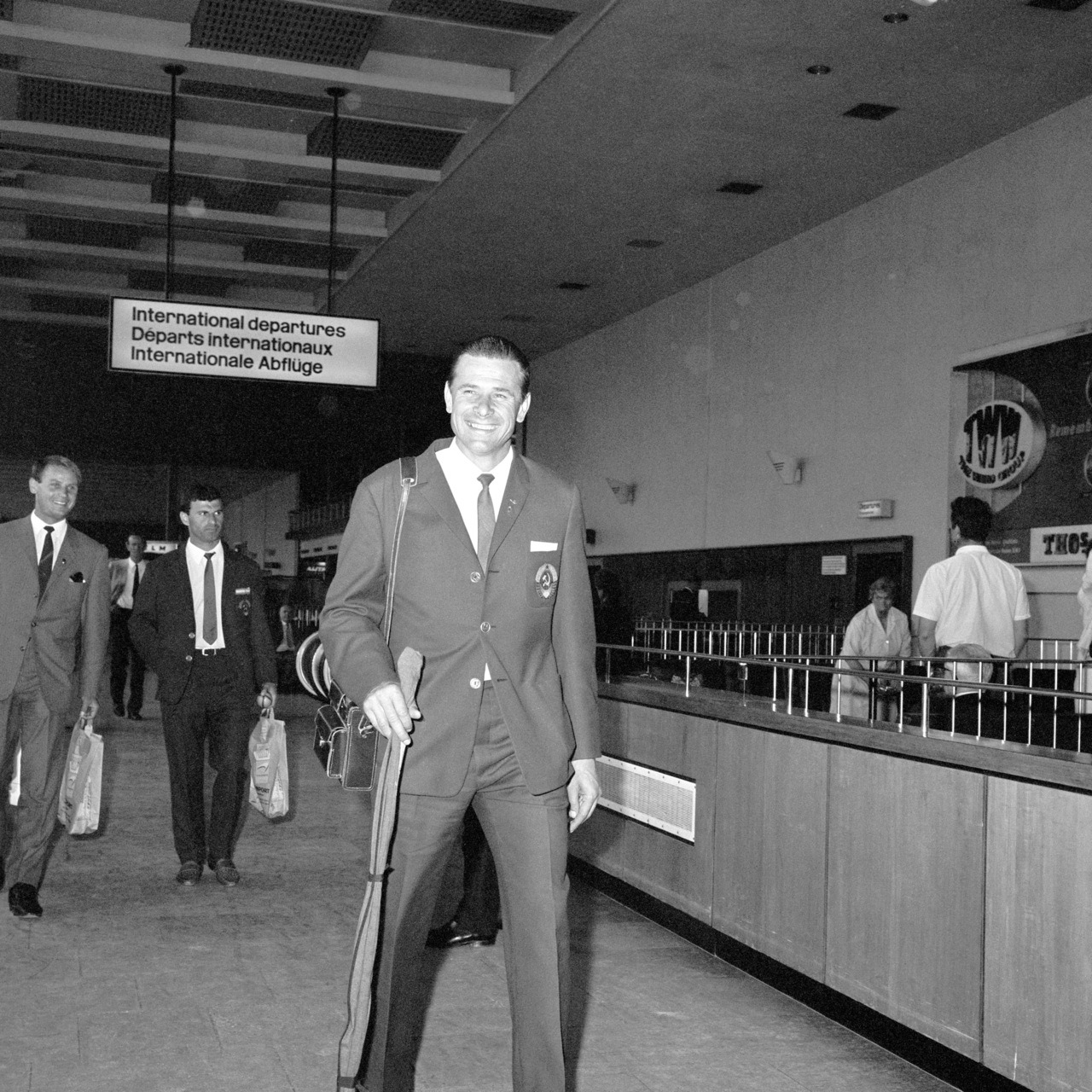 Lev Yashin arriving in London for the World Cup, 1966.