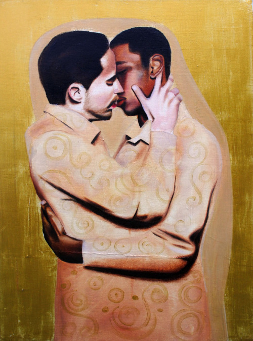 "Tatyana Fazlalizadeh The Kiss, oil on canvas, 2011 ""Part of my ""Get Angry"" series, The Kiss is a rendition of Gustav Klimt's The Kiss."""