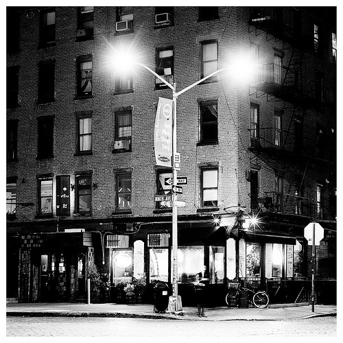 Bill's (by Christopher Lange) Standing on the corner of W. 13th last week, frigid bursts of wind whipping down the avenue, I shot this feeling perfectly at home.