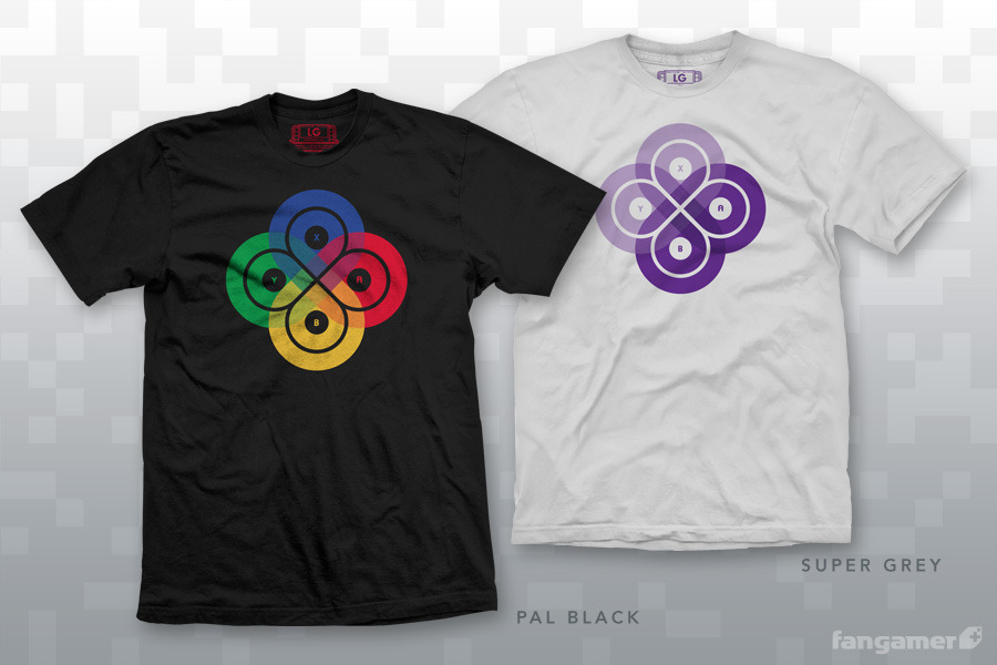 A Little Bit On The Geek Chic Side: Gaming Loop t-shirts designed by Jon Kay for Fangamer and inspired by the four face buttons of the Super Nintendo and Japanese Super Famicom. (via The Awesomer)
