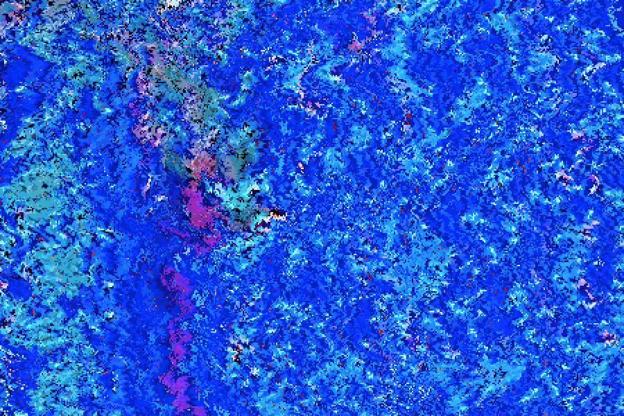 Sea of Pixels 024 of 366 A remix of 012 after being converted from JPG to GIF and then subjected to progressive manipulation in Hex Fiend.