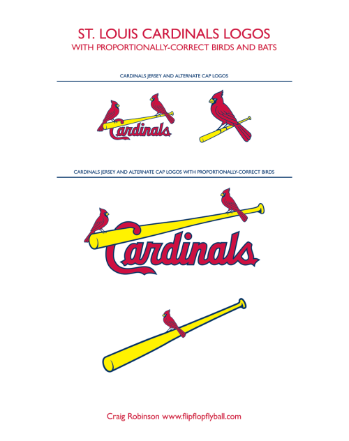 "oldtimefamilybaseball:  St. Louis Cardinals Logos with Proportionally Correct Birds and Bats Craig Robinson is a British artist living in Mexico City. He has  written and illustrated four books, the latest, ""Flip Flop Fly Ball""  published by Bloomsbury in 2011. www.flipflopflyball.com ————————- Doctors Without Borders is an international medical  organization that provides independent, impartial assistance in more  than 60 countries to people whose survival has been threatened by  violence, neglect, or catastrophe. Please help us reach our goal of $2,000 by donating here.   Y'all, OldTimeFamilyBaseball is only $180 from meeting its $2,000 fundraising goal for Doctors Without Borders. To reach its goal, the blog's administrator Michael Clair blogged every half hour for 24 hours (a ""blogathon"") and today he enlisted some of the Internet's finest baseball/sports/culture/fun bloggers to write guest posts (see, e.g., this, Craig Robinson's entry). Help Michael get to his goal and support a great cause. Click here to donate."