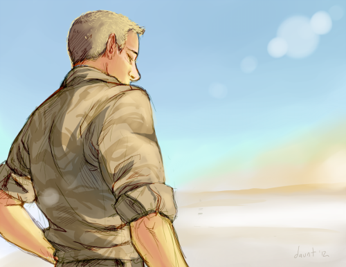 John at War A picture for a client over on Deviant Art.  It's not actually their final pic (I'm doing a mini comic) but it's something that I will use in the final work. :)  Figured I'd share!  Also I needed to exercise myself with color again.  I need to improve.   ——— EDIT: Oh god now that it's small I can see ALL THE PERSPECTIVE PROBLEMS. Nooooo~