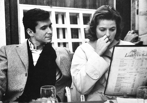 Anthony Perkins and Ingrid Bergman, 1958. Photographed by Yul Brynner.