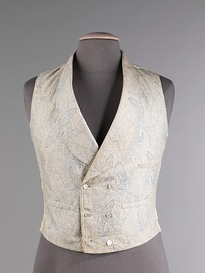 Cotton waistcoat with mother-of-pearl buttons, Met, c. 1860-69