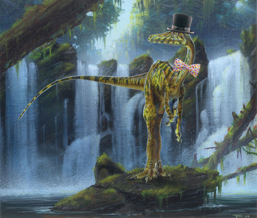 The Troodon poses in front of a scenic waterfall. (Fun dinosaur fact: the troodons were colorblind and could not match their bow ties to their top hats.)