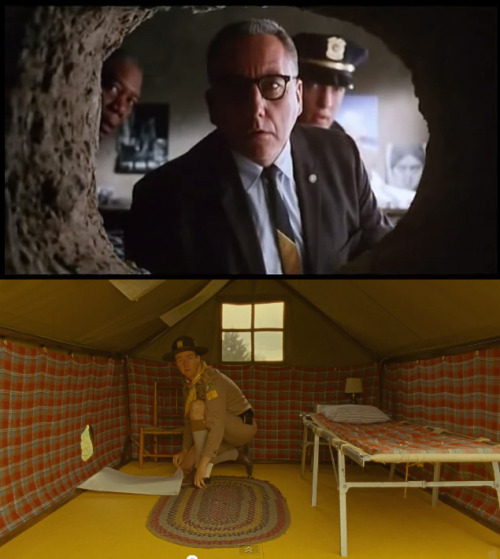 #moonrisekingdom homage to #shawshankredemption: the ol' poster-covering-up-the-escape-hole trick