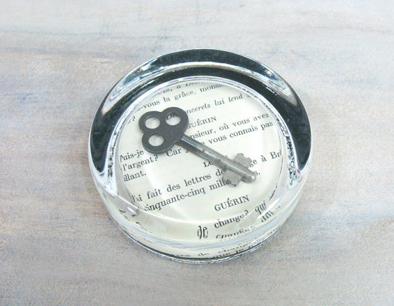 Vintage Skeleton Key Glass Paperweight by jacquierae