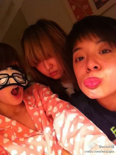 "Miss A's Jia, Min, and f(x)'s Amber Have a Sleeplover  On January 12th, miss A's Jia shared a fun photo of herself with fellow member Min and f(x)'s Amber on her personal Weibo (a Chinese SNS site). In the accompanying caption, Jia wrote, ""I want to sleep~ Stop being noisy! Have a good night."" It looks like the trio had a small sleepover, judging by their  pajamas and make-up free faces. Jia cracked up fans with her goofy pose  that used a cartoon eye mask, while Min attempted to look like ghost  with her bangs covering her eyes. As for Amber, she painted a thick  layer of red lipstick and outlined it with dark lipliner for a comedic  effect. Neitzens commented, ""You guys seem very close"", ""Amber's lips… No words"", and ""Are you guys really girl group members?"". In related news, miss A won the Digital Bonsang at the 26th Golden Disc Awards in Japan while f(x) were awarded the Disc Bonsang."
