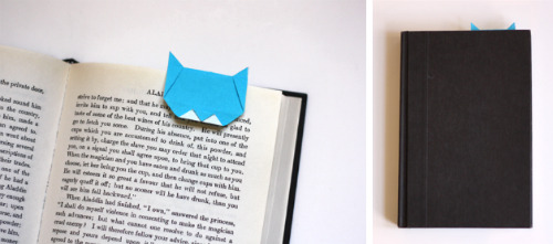 here's what all you kitty-lovers should do today: make an origami cat bookmark. this is one of those (rare, mind you) times i'm sad all my books are on Kindle.