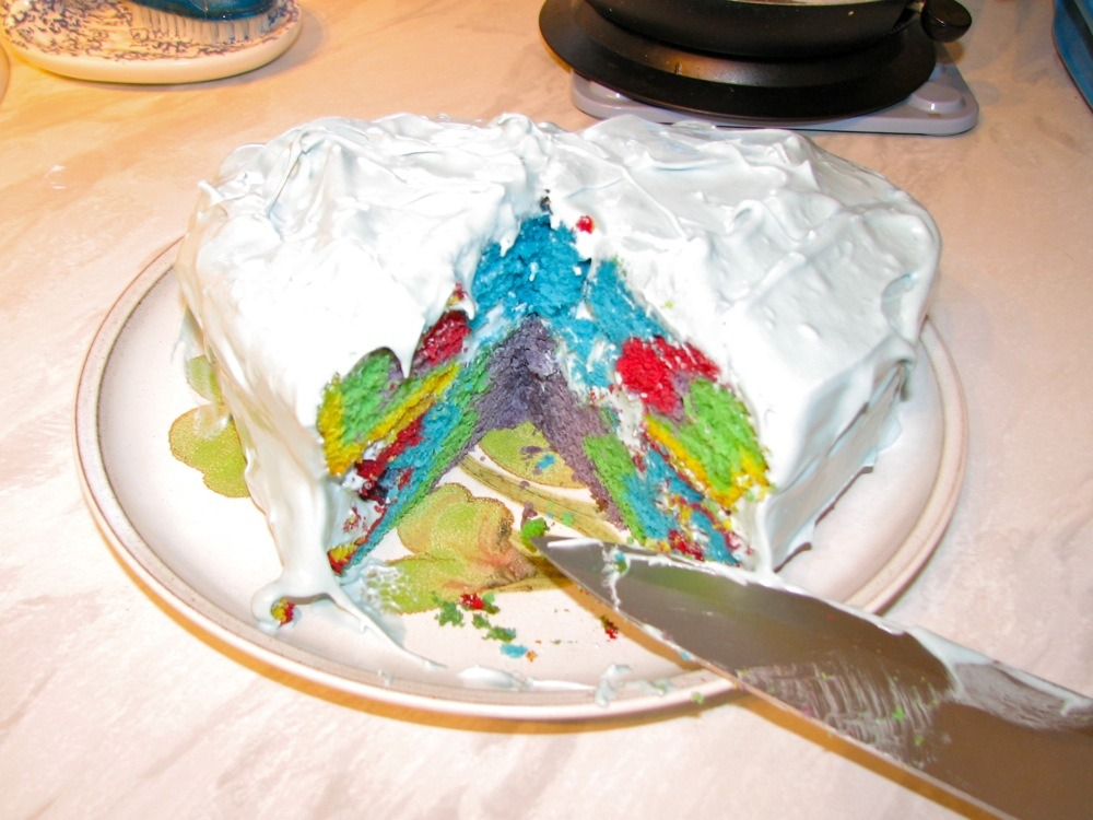 GIRL EATS FOOD - RAINBOW CAKE So now that you've all pooped your guts out using some au naturel detox witchcraft, you can get back to eating real food, otherwise known as treating your mouth like a dumpster for calories and additives. There's no better way of celebrating the death of your New Year's resolutions than with a recipe that's 80 percent comprised of stuff clowns wear on their face. That's right – above stem cell research and lava lamps, entirely chemical-based food colourings really are one of the greatest developments in science, bringing joy to people regardless of their age, race or Ritalin prescription. Read the full article here