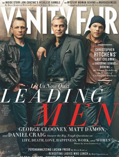 Vanity Fair cover of Daniel Craig, George Clooney, Matt Damon. Shot by Annie Leibovitz, Styled by Jessica Diehl, Produced by Camilla Johnson-Hill for The Production Club