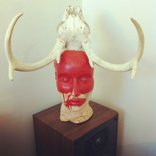 """My Mother's Bust, Painted Red"" - Acrylic, Clay, Found Skull."