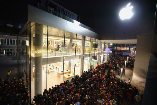 "nationalpost:  Shoppers riot at Beijing Apple store over delayed iPhonesEnraged Chinese shoppers pelted Apple Inc.'s flagship Beijing store with eggs and shoving matches broke out with police on Friday when customers were told the store would not begin sales of the iPhone4S as scheduled.Apple said later after the fracas at its store in Beijing's trendy Sanlitun district that it would halt all retail sales of the latest iPhone in China for the time being, but said the phones would be available online, through its partner China Unicom or at official Apple resellers.An announcer with a bullhorn told the Sanlitun store crowd around 7 a.m., before sunrise, that the phones would not go on sale as planned and that they should leave. As the crowd became more unruly, scuffles broke out between security staff and shoppers, many of whom had waited overnight in freezing weather. Police moved in and dragged some people away. Photos appeared on the Chinese blogosphere of a man who had brought raw eggs in a plastic bag, handing them out before people heaved them at the store's tall glass windows.""We're suffering from cold and hunger,"" a man in his 20s shouted to Reuters Television. ""They said they're not going to sell to us. Why? Why?"" (Photo: Feng Li/Getty Images)  My question is, had the shoppers arrived at the Apple store with eggs, just in case they decided not to sell the phone? Or were they just stopping by for a brand new 4s on the way back from the evening grocery run?"