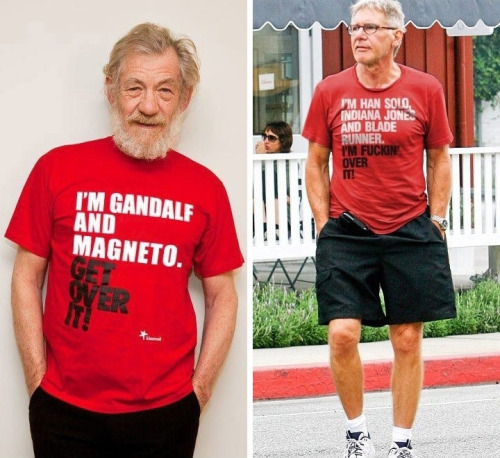 Ian McKellen & Harrison Ford wearing awesome t-shirts.