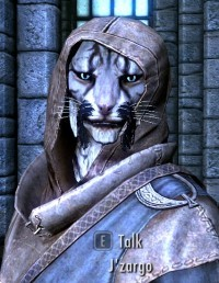 "I think J'zargo is my favourite NPC in Skyrim. ""J'zargo can learn magic from these men and elves, but they cannot learn to be as dashing as he. J'Zargo comes out on top."""