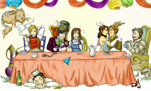 Reaver's Tea Party by balba-bunny So freaking adorable! I love the look on the Hero's face when she sees the gift Reaver's doormouse is offering.
