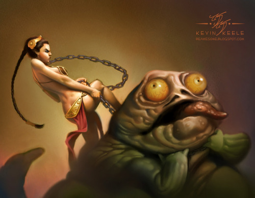 "justinrampage:  Princess Leia puts an end to the evil slug Jabba the Hutt in artist Kevin Keele's Frank Frazetta style / tribute Star Wars piece. Related Rampages: ""Hey! Listen! Hey!"" (More) Leia the Slaya! by  Kevin Keele / Kanyn (deviantART)"
