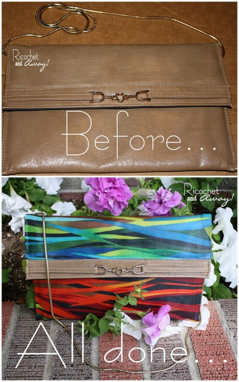 DIY Mod Podge Fabric Purse Upcycle. Tutorial from Ricochet and Away here. She also has a Mod Podge fabric wallet tutorial here.