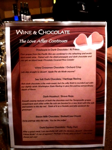 The Pairings Photo: Wine And Chocolate. 1/12/12. Karen Glosser http://tenthousandvines.com/