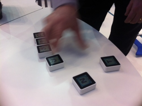 Siftables can be used to play digital games with real life, tactile objects.   Each one displayed a letter and we were challenged to make as many words as possible with them. The objects are smart and react to the words you could make.   Just imagine if they were open and you could program them…