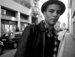 On the way to a casting, Zakaria Khiare (Ford Men) says hello on Via Tortona, Milano. (Photography: Damien Neva)