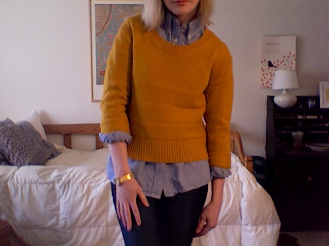rachellewhite:  wiwt. My cropped mustard pullover dreams have finally come true.  a diva hustler. clad in mustard. no man. can muster. an outfit. to touch her. no pitti. you flustered?