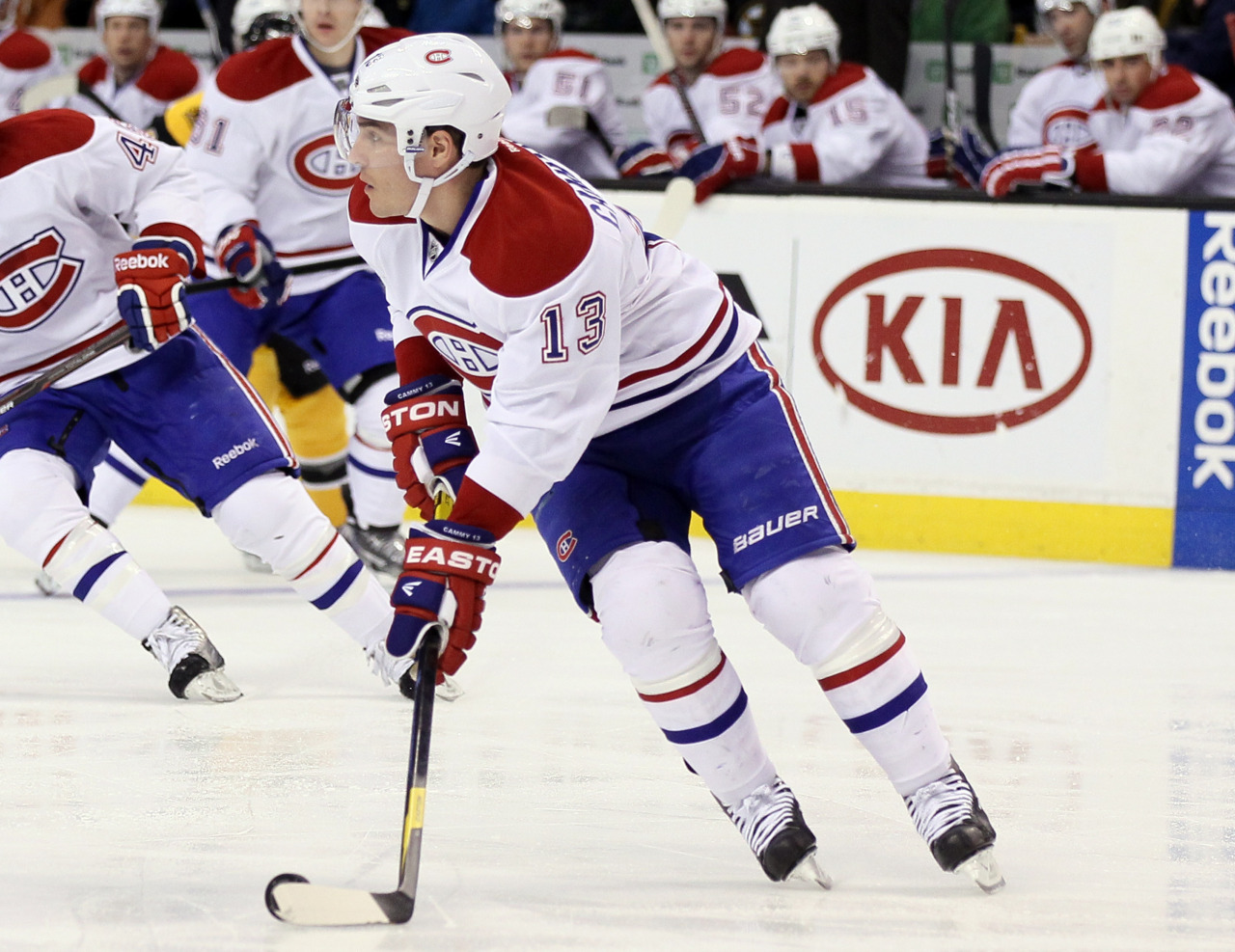 Going, going, goneWell, uh, that was kind of weird. One minute, Canadiens forward Mike Cammalleri is playing against the Bruins in Boston. The next, he's in a cab to the hotel during the third period because he was traded mid-game. Yes, that actually happened. Photo: Elsa/Getty Images